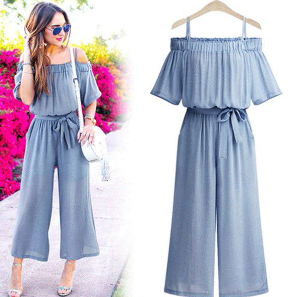 large size women jumpsuit Drop shoulders rompers womens Elegant loose-fitting combinaison femme Romper overalls with belt
