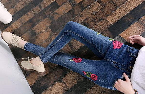 new Stretch Rose embroidered Jeans Women Elastic Jeans Female Pencil Denim Pants