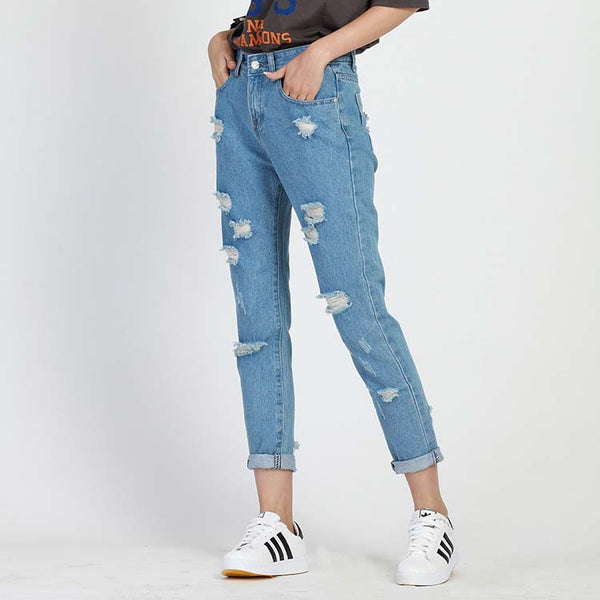 ripped jeans for women hole Women jeans boyfriend jeans for woman Loose size hole denim pants vintage high waist jeans femme