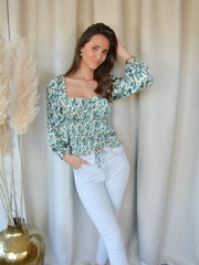 Floral top green