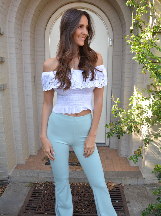 Flared pants mint green
