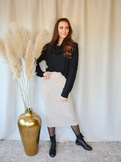 Long taupe skirt