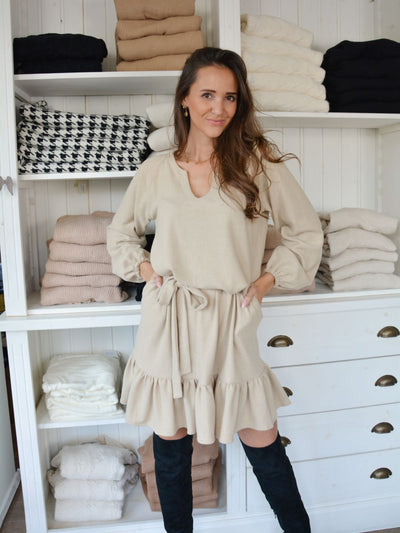 Livily peplum dress beige