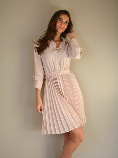 Plissé dress soft pink