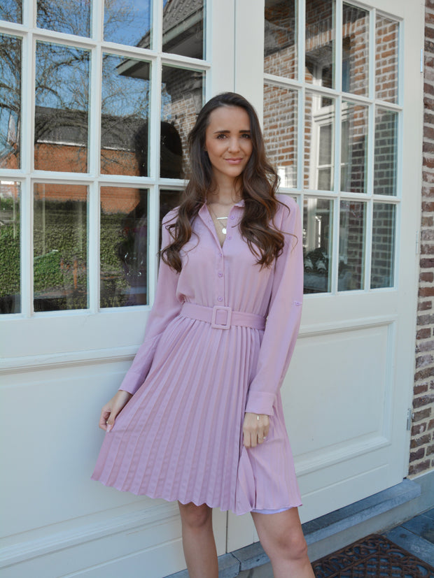 Plissé dress purple