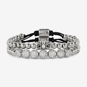 Diamante Double Beaded Bracelet - Silver