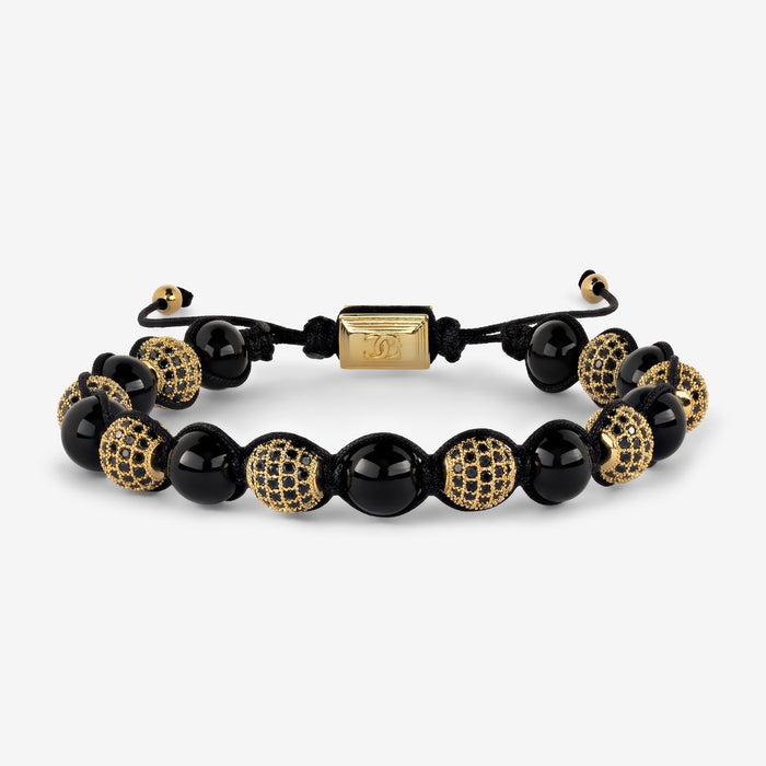 Black Agate Macrame Beaded Bracelet - Gold