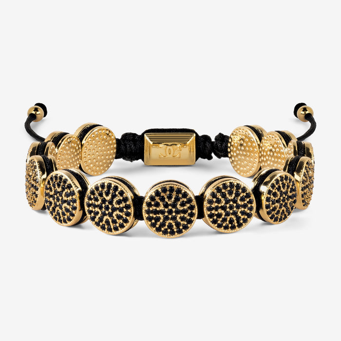 Black Diamante Circles Macrame Bracelet - Gold