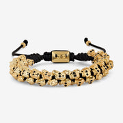 Skull Macrame Beaded Bracelet - Gold