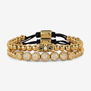 Diamante Double Beaded Bracelet - Gold