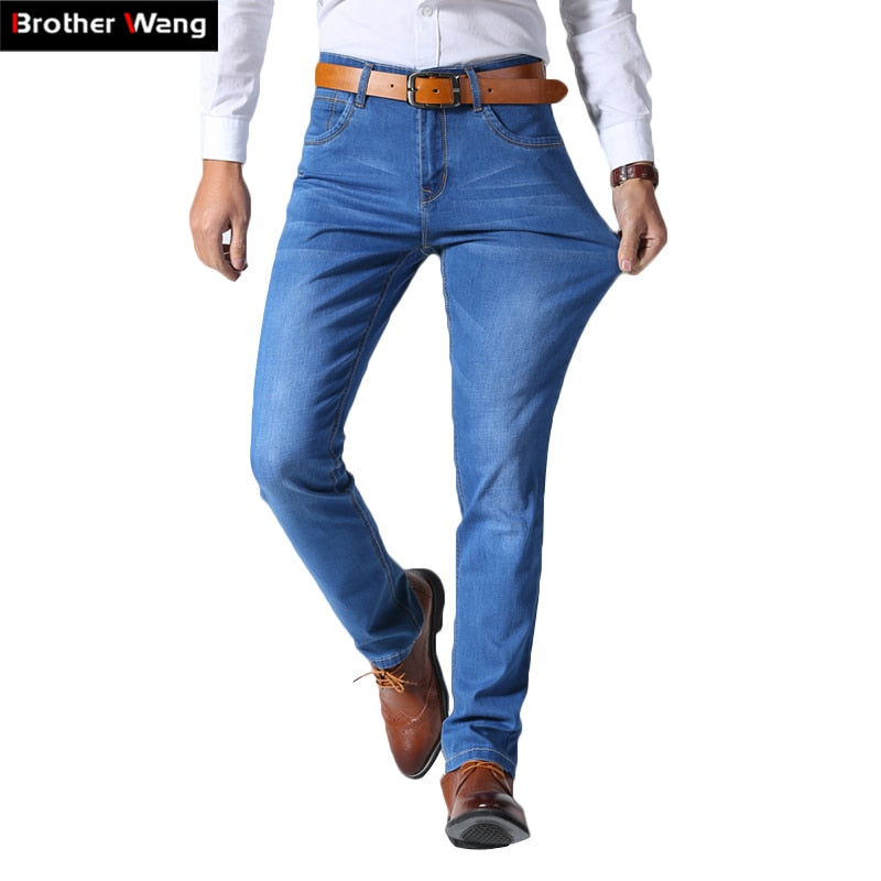 2018 Summer New Men's Thin Light Jeans Business Casual Stretch Slim Denim Jeans Light Blue Trousers Male Brand Pants Plus Size