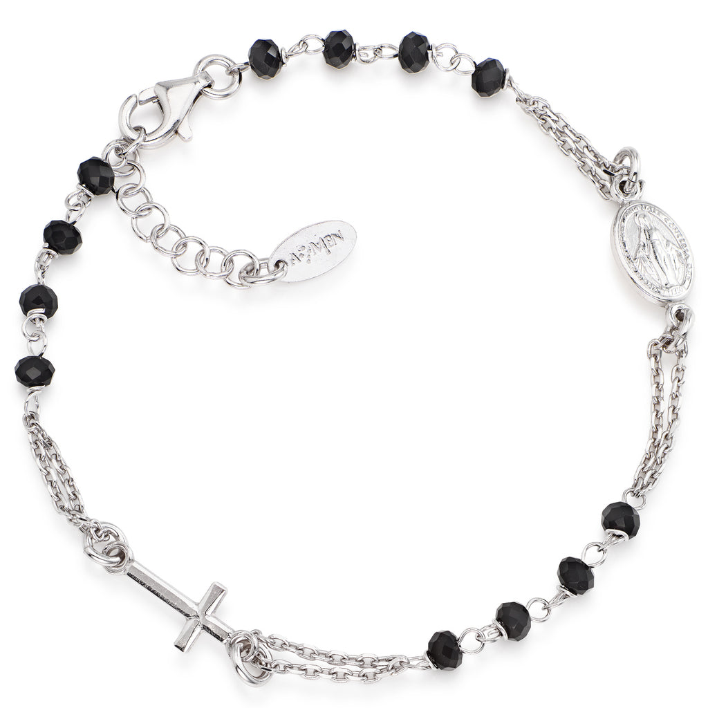 Sterling silver Rosary bracelet with black crystals