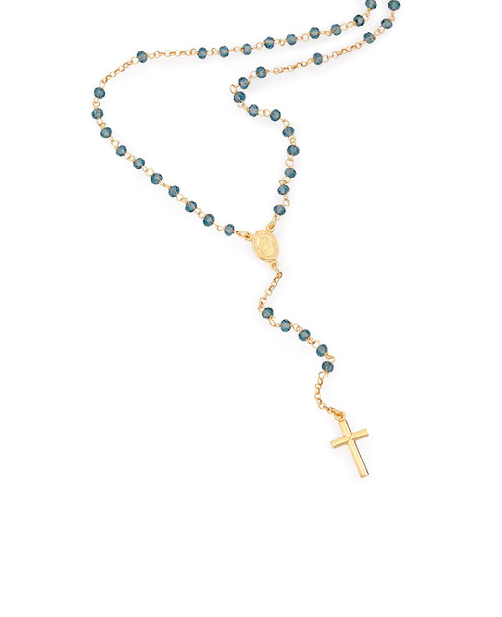Sterling silver Rosary classic necklace with Blue cubic zirconia golden