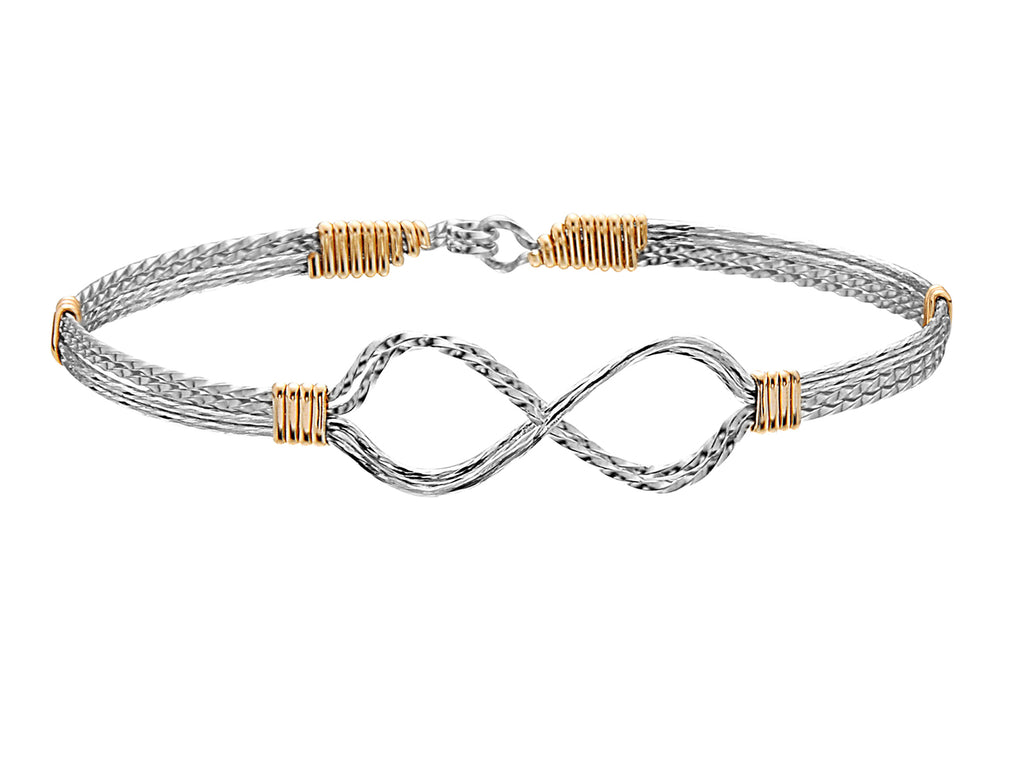 Infinity Bracelet - Silver with Gold Wraps