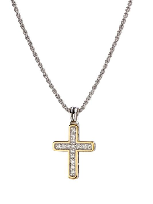 Pavé Two Tone Cross Necklace