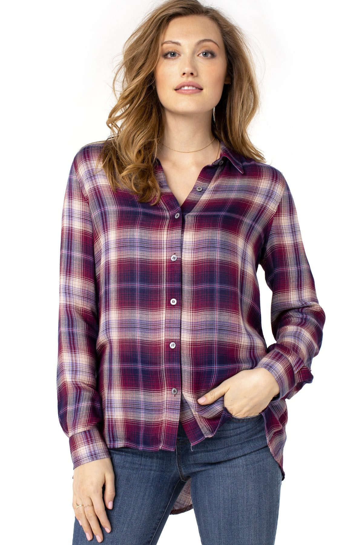 Oversized Button Back Plaid Shirt