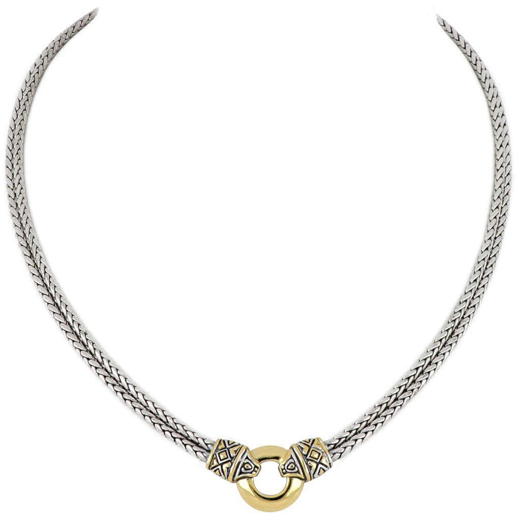 Antiqua Gold Circle Double Strand Necklace