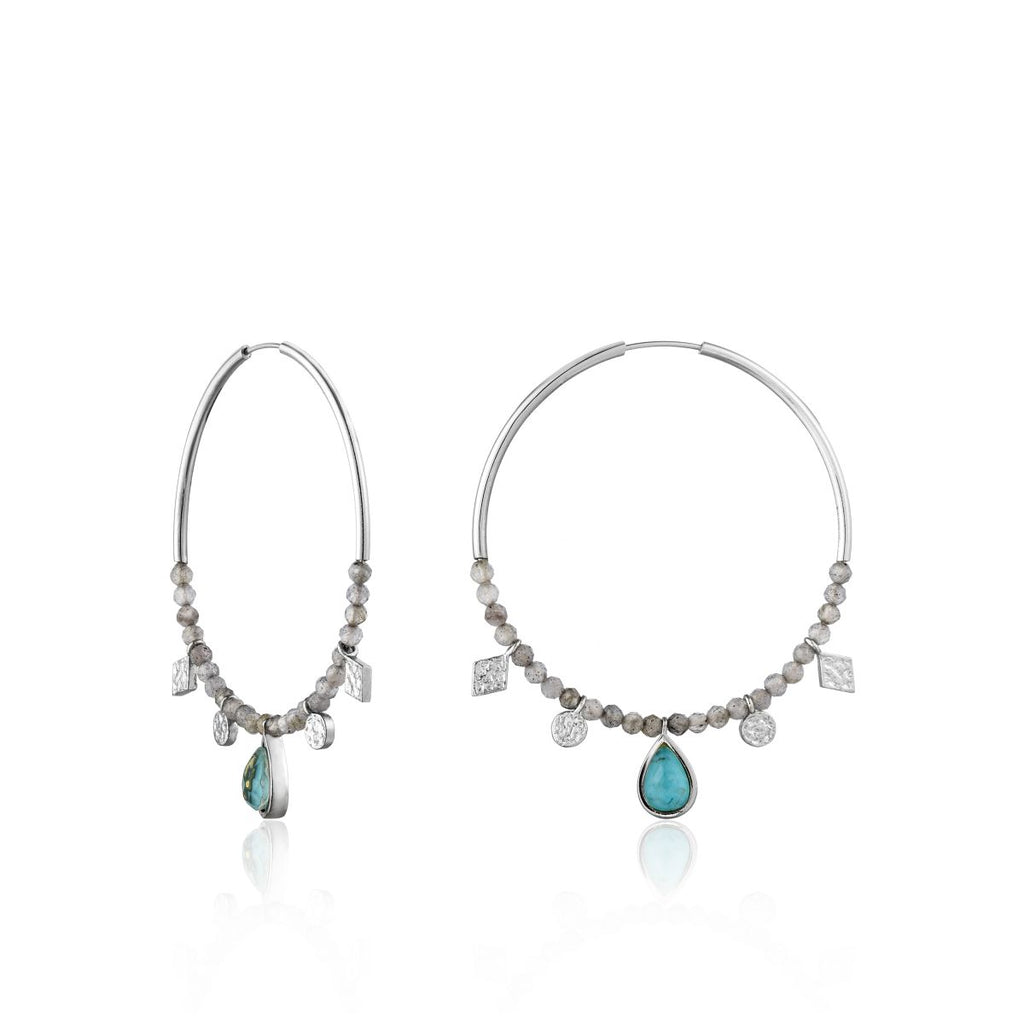Turquoise and Labradorite Hoop Earrings