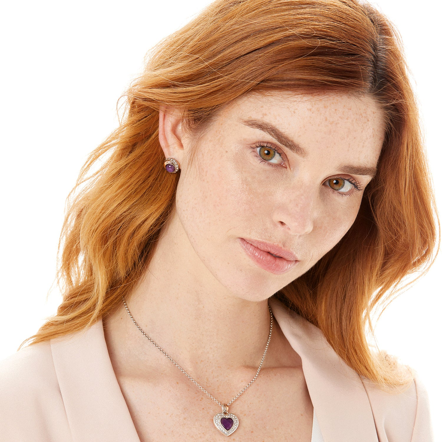 Neptune's Rings Amethyst Heart Reversible Necklace