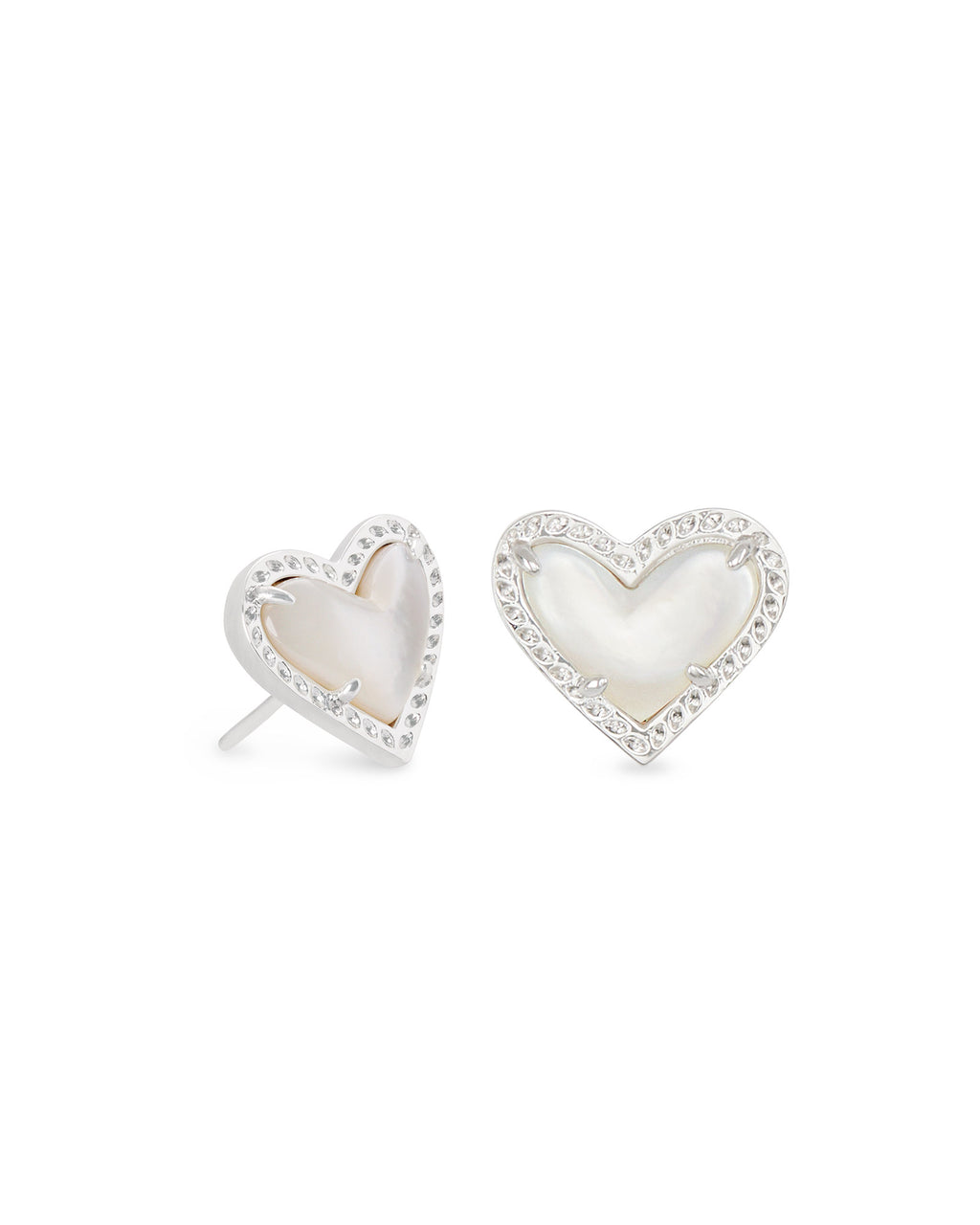 Ari Heart Stud Earrings - Silver