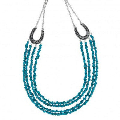 MONTANA NECKLACE MULTI-CHAIN TURQUOISE WITH HORSESHOES