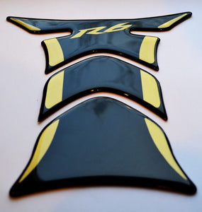Yamaha YZF R6 Piano Black +matt Gold tank Protector pad Decal Sticker trim guard