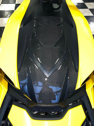 Fit Can-Am RYKER BRP 2019 Real 3k twill dry CARBON FIBER Front panel trunk light protector trim kit overlay