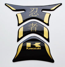 Load image into Gallery viewer, Kawasaki Ninja Kanji Piano Black +matt Gold Tank Protector pad Decal Sticker