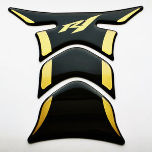 Fit Yamaha YZF R1 Piano Black +matt Gold tank Protector pad Decal Sticker trim