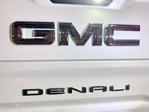 Dry Carbon Fiber Rear Emblem overlay trim kit Fit GMC Sierra 1500 Denali At4