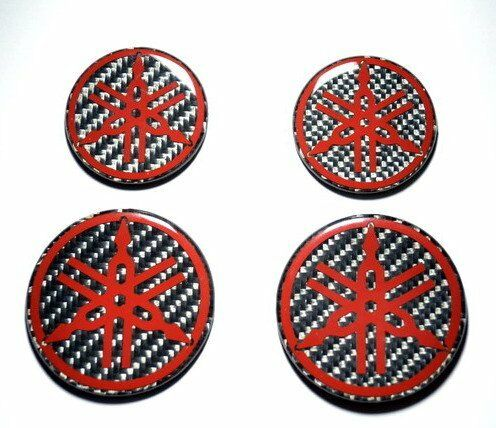 Yamaha Stickers for helmet tank RED & Carbon Fiber Decals 4 pcs trim R1 R6 YZF