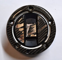 Load image into Gallery viewer, CARBON FIBER +CHROME Tank Cap Filler Cover Sticker fit Suzuki Hayabusa 1300 GSXR
