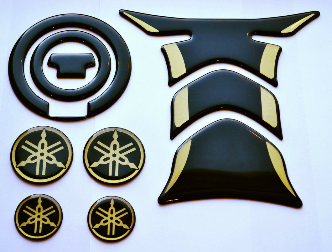 Yamaha R1 R6 Piano Black +gold tank Protector pad + gas cap Decal Sticker trim