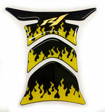 Load image into Gallery viewer, fit Yamaha YZF R1 Piano Black +yellow flames tank Protector pad Decal Sticker