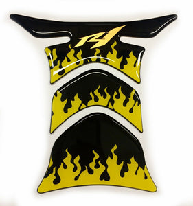 fit Yamaha YZF R1 Piano Black +yellow flames tank Protector pad Decal Sticker