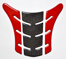 Load image into Gallery viewer, Red & Real Carbon Fiber tank Pad Protector fits Ducati Monster 696 795 796 1100