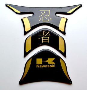 Kawasaki Ninja Kanji Piano Black +matt Gold Tank Protector pad Decal Sticker
