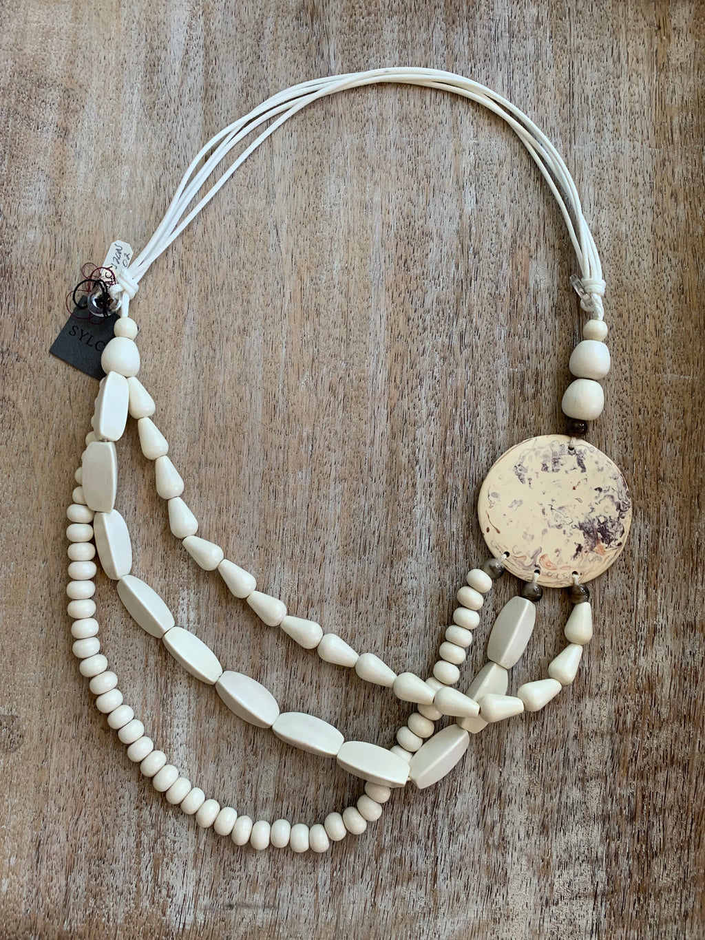 Ivory and Oli Wood Necklace