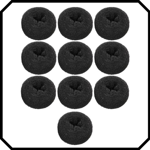 10 pack Extra large black hair donut bun maker ring sponge acccessory black special occassion indian bridal bun