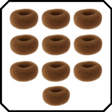 Load image into Gallery viewer, 10 pack Extra large brown hair donut bun maker ring sponge acccessory black special occassion indian bridal bun