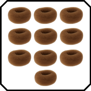 10 pack Extra large brown hair donut bun maker ring sponge acccessory black special occassion indian bridal bun