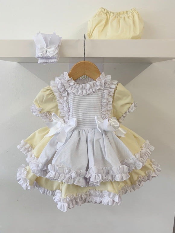 Nancy Dress Exclusive to Bellos Boutique - Lemon/White
