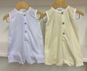 Babidu Gingham Collection - Shortie Romper in Lemon or Blue