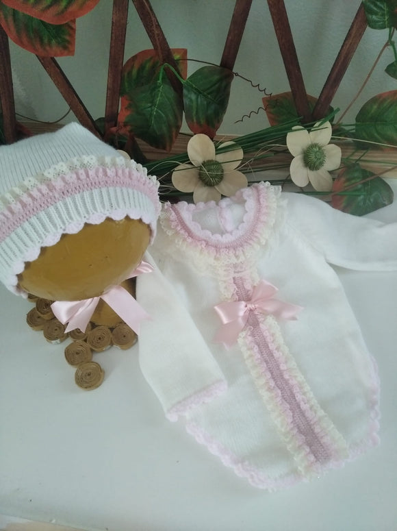 Harlow Romper & Bonnet Set EXCLUSIVE to Bellos Boutique in Pink or Blue