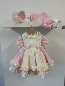Nancy Dress Exclusive to Bellos Boutique - Pink/Cream