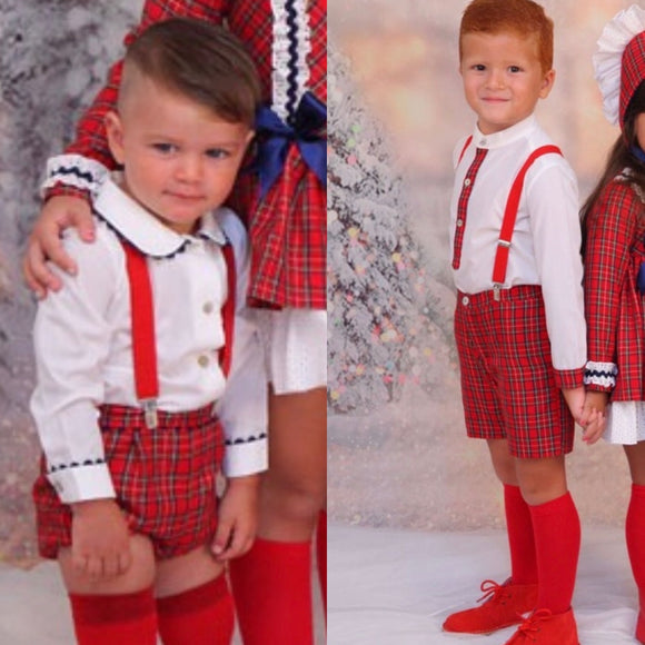 Red/Tartan Collection Boys Set