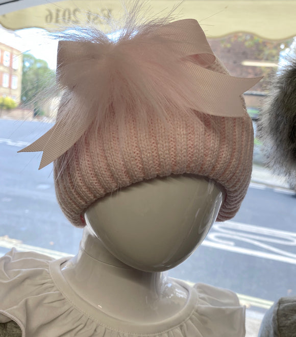 Pink Hat with Bow and Fur Pom