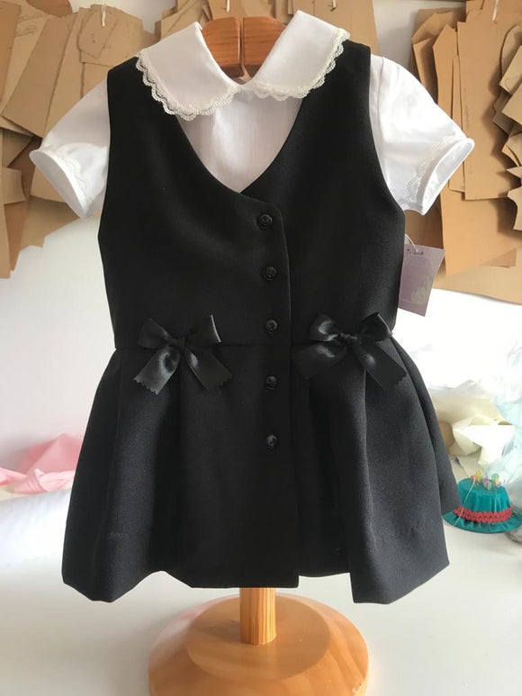 Button Pinafore in Grey, Navy or Black