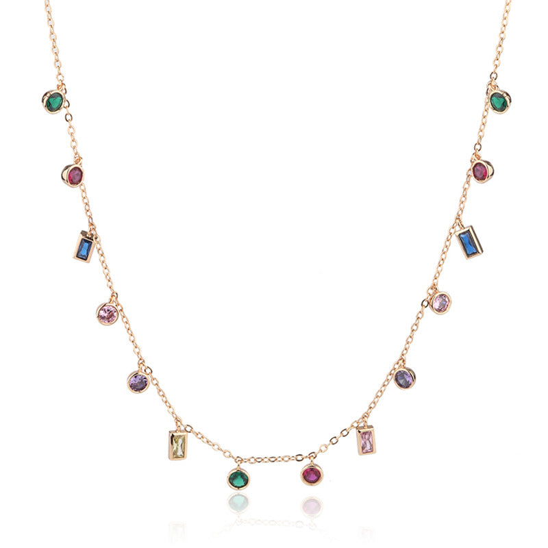 Multi-stone colourful necklace