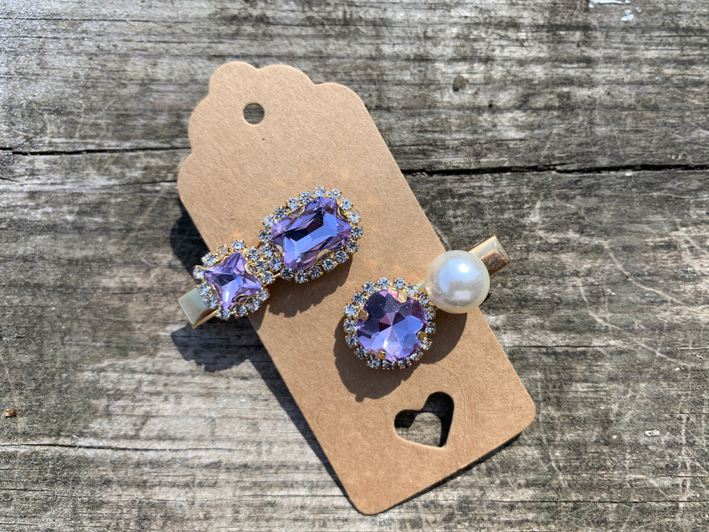 Two clip set - Cute lavender rhinestones and pearl